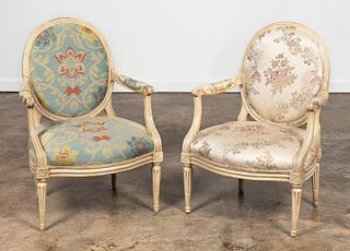 2 LOUIS XVI STYLE OVAL BACK UPHOLSTERED ARMCHAIRS