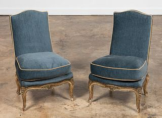 PAIR, FRENCH BLUE UPHOLSTERED CHILD'S CHAIRS