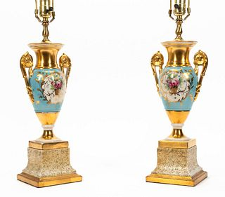 PAIR, OLD PARIS PORCELAIN TABLE LAMPS WITH SHADES