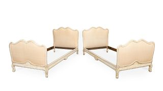 PAIR OF LOUIS XV STYLE UPHOLSTERED TWIN BEDS