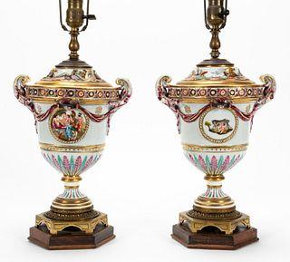 PAIR, CAPODIMONTE TABLE LAMPS, MYTHOLOGICAL MOTIF
