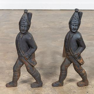PAIR, CAST IRON HESSIAN SOLDIER ANDIRONS