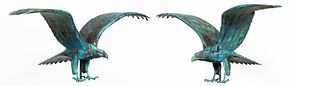 PAIR, BARRY NORLING, LARGE PATINATED COPPER EAGLES