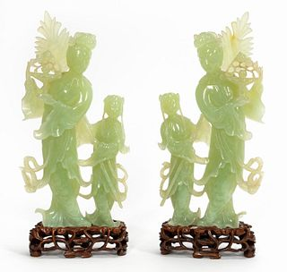 PAIR, CHINESE JADE QUANYIN FIGURAL SCULPTURES