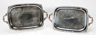 PAIR, SILVERPLATE SERVING TRAYS, THEODORE STARR