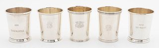 FIVE AMERICAN STERLING SILVER MINT JULEP CUPS