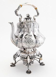BALL TOMPKINS & BLACK COIN SILVER KETTLE ON STAND