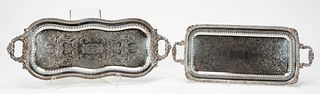 2 PCS, SILVERPLATE FOOTED & HANDLED SERVING TRAYS