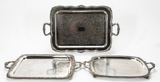 3 PCS, SILVERPLATE HANDLED & FOOTED SERVING TRAYS