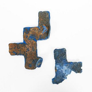 RMS CARPATHIA, SALVAGED BLUE LINOLEUM TILES, 2PC