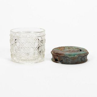 RMS CARPATHIA, SALVAGED GLASS JAR WITH LID, 2PC