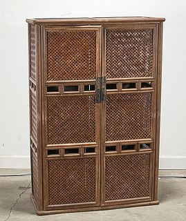 Chinese Bamboo and Wood Cabinet
