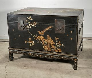 Large Chinese Painted and Lacquered Wood Chest