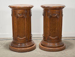 Pair Chinese Round Wood Pedestals