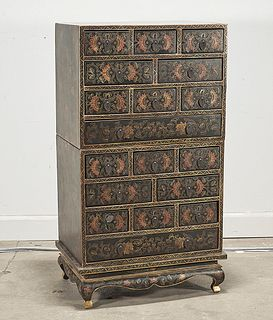 Chinese Painted Wood Stacking Chests