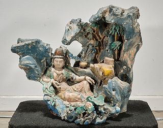 Chinese Polychrome Wood Sculpture of Guanyin