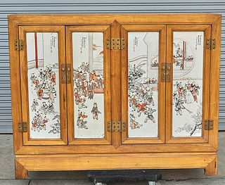 Chinese Porcelain Plaque Paneled Wood Cabinet