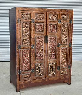 Chinese Carved and Painted Wood Cabinet