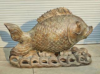 Large Chinese Bronze Fish