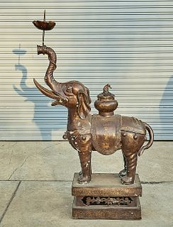 Large Chinese Bronze Elephant-Form Candlestick and Censer