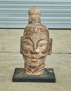 Chinese Carved Stone Soldier's Head