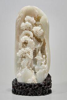 Tall Chinese Jade Carving