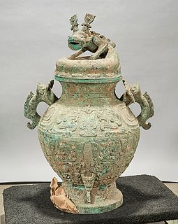 Large Chinese Archaistic Bronze Covered Vessel