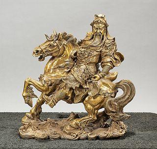 Chinese Bronze Figure of Guandi on a Horse