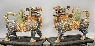 Pair Chinese Polychrome Glazed Pottery Qilin