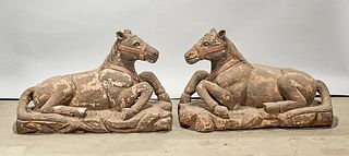 Pair Chinese Carved Wood Horses