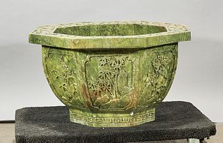 Chinese Carved Hardstone Jardiniere
