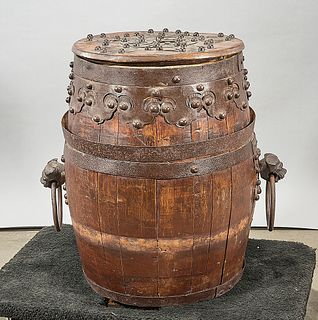 Antique Chinese Wood Barrel