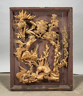 Chinese Gilt Carved Wood Relief Panel