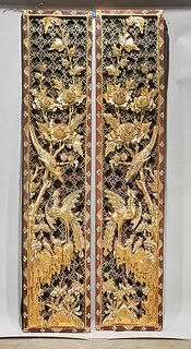 Two Chinese Carved Gilt Wood Panels