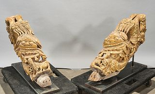 Pair Chinese Carved Gilt Wood Architectural Elements