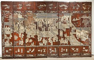 Chinese Eight-Panel Carved Wood Screen