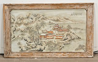 Large Chinese Enameled and Painted Porcelain Plaque
