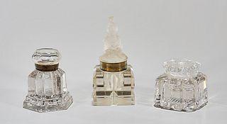 Group of Three Cut Glass Inkwells
