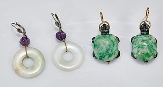 Two Pair Chinese Hardstone Earrings