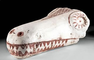 Romano-Egyptian Painted Mummy Mask of Crocodile