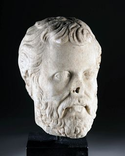 Near-Lifesize Roman Marble Head of a Philosopher