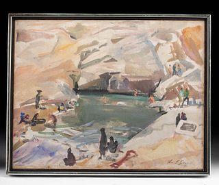 Framed W. Draper Painting - Rug Washing, Iran - 1967