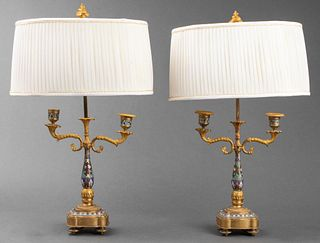 French Gilt And Cloisonné Candelabra Lamps, Pr