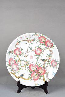 A Famille Rose Peach Porcelain Plate