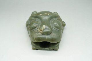 A Tiger Head-shaped Jade Zun
