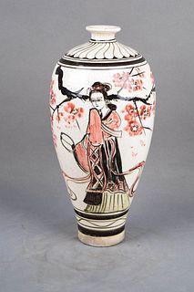 A Guan Kiln Figure Porcelain Meiping