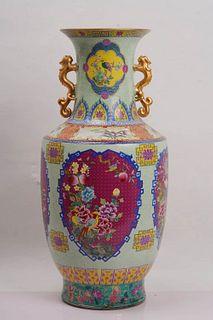 An Enamel Flower Porcelain Vase with Dragon-shaped Ears