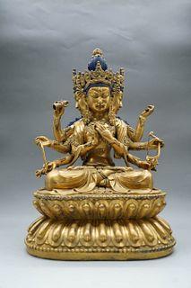 A Gilding Copper Sitting Buddha Statue