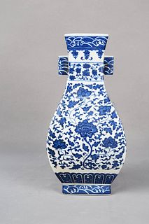 A Blue and White Flower Porcelain Double-eared Vase