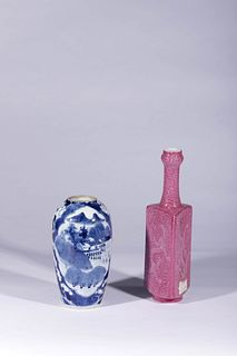 A Blue and White Porcelain Meiping and a Trigonal Porcelain Vase
